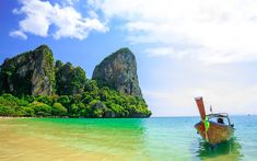 Taking off on a solo trip is one of the best experiences you can have. Sure, it can be a little intimidating, so that's why we've come up with the 10 best places for chicas to travel on their own. Krabi, Asia, Landscape Wallpaper, Vacation Destinations, Solo Travel, Continents, Waterfall, Around The Worlds, Boat