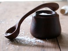 Stunning Hand-Carved Walnut Salt Bowl and Spoon. Lovely hostess or engagement gift.