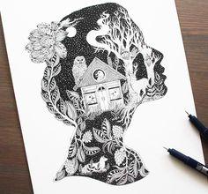 Une sélection des superbes illustrations à l'encre deMeni Chatzipanagiotou, une illustratrice et graphic designergrecque qui imagine des compositions douc