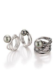 Gellner, Wave, Rings, Tahiti Pearls, White Gold, black Diamonds,