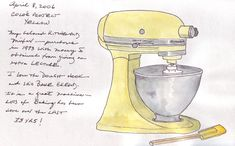 Pretty little drawing/painting of someone's favorite kitchen tool, a KitchenAid mixer.