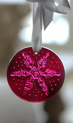 Lalique Snowflake Christmas 2013 Ornament, Red