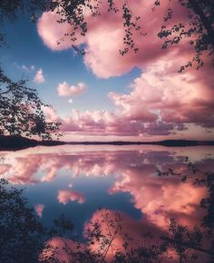 Pink clouds - like fairy floss (cotton candy).