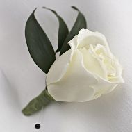 White rose and italian ruscus boutonniere