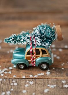 Miniature car bringing home family Christmas tree. ❣Julianne McPeters❣ no pin limits