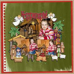 Nativity scrapbook page created with digital scrapbooking kits from Kate Hadfield Designs – ideas and inspiration for scrapbooking the Christmas story. Layout by Creative Team member Birgit