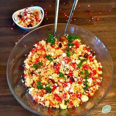 Couscous Taboulé mit Granatapfel und Cranberries Feta, Couscous Salat, Clean Eating, Cranberries, Kraut, Superfoods, Fried Rice, Salsa, Mexican