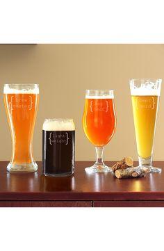 Beer Glasses 4-pc set: Light Weight; Beer Nerd; Brew Master; Hop Head | Cathy's Concepts