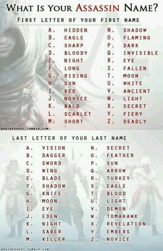 What is your assassin name? Mine is (lamely) Eagle Eagle! <<< its the assassin version of Moon Moon! Oh and mine is hidden moon. Funny Names, Cool Names, Badass Names, Writing Tips, Writing Prompts, Funny Name Generator, Assassin Names, Assassins Creed Funny, Fantasy Names