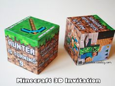 MINECRAFT 3D INVITATION. Printable Minecraft invitation cube.   MINECRAFT INVITATION BIRTHDAY MINECRAFT BIRTHDAY CARD Minecraft printable invitation http://partyprintable.weebly.com/  Minecraft printable decoration, Minecraft birthday party decoration, Minecraft gifts, Minecraft invitation, Minecraft, Minecraft creeper, Creeper decoration, Minecraft digital file, Minecraft free decoration, minecraft printables, minecraft food, minecraft stickers, creeper printables, minecraft bowling