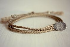 Antique Brown Braided TripleWrap Bracelet with Textured by Riemke