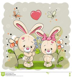 Illustration about Rabbit boy and girl with flowers on the meadow. Illustration of mammal, animal, brown - 75993723 Precious Moments, Teddy Photos, Kids Cartoon Characters, Cute Disney Drawings, Blue Nose Friends, Girls With Flowers, Cute Cartoon Animals, Tatty Teddy, Rabbits
