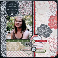 Scrapbook Layout using NEW Teresa Collins Fabrications Linen by Cheri Piles
