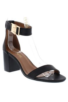 """""""Gilberta"""" Ankle and Toe Strap Low Chunky Heel Sandals - Black"""