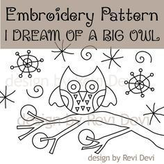 Owl Embroidery Pattern / PDF Instant download / I by revidevi