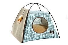 Trendy Pet Cat Tent with Attached Cat Scratcher   Removable Bolstered Microfiber Pillow - 21in x 21in x 18.5in - Sea Blue, http://www.amazon.com/dp/B01DAM1QC0/ref=cm_sw_r_pi_awdm_xs_a3jmybEADRZZP