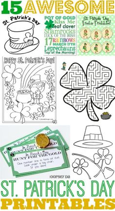 15 Awesome St Patrick& Day Free Printables for Kids is part of Kids Crafts Kindergarten St. Patrick& Day 15 Awesome St Patrick& Day Free Printables for Kids - St Patricks Day Crafts For Kids, St Patrick's Day Crafts, Holiday Crafts, Holiday Fun, Kids Crafts, Kids Diy, March Crafts, Spring Crafts, Decor Crafts