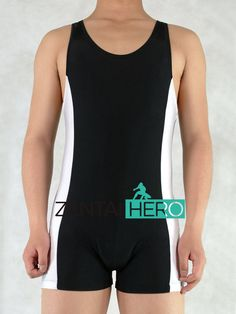 ==> [Free Shipping] Buy Best ZentaiHero Sexy Adult Men's Tank Top Wrestling Singlet White&Black Lycra Spandex Gymnastics Leotard Tights Unitard Costume M110 Online with LOWEST Price | 32788873227