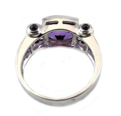Amethyst Diamond Gold Ring | From a unique collection of vintage more rings at https://www.1stdibs.com/jewelry/rings/more-rings/