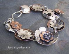 Create a unique mixed metal bracelet in this fun Metal Garden Bracelet workshop. Enamel Jewelry, Copper Jewelry, Clay Jewelry, Jewelry Crafts, Geek Jewelry, Gothic Jewelry, Jewelry Ideas, Jewlery, Jewelry Necklaces
