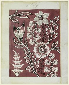 Drawing, Design for a printed fabric, Graphite, brush and gouache on heavy laid paper. Textiles, Textile Prints, Textile Patterns, Print Patterns, Floral Prints, Indian Patterns, Floral Patterns, Textile Design, Vintage Design