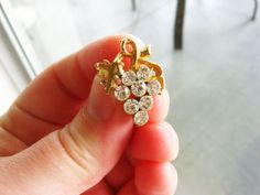 Vintage Diamond Rhinestone and Gold Grape Screwback by FembyDesign, $13.50