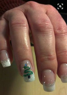 50 Festive Christmas Nail Art Designs - Christmas Tree Nail Art The Effective Pictures We Offer You About art deco border A quality pictur - Christmas Tree Nail Art, Christmas Nail Art Designs, Holiday Nail Art, Xmas Tree, Christmas Trees, Christmas Decorations, Winter Christmas, Xmas Nail Art, Christmas Glitter