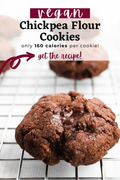 These chickpea flour cookies are sweet and chocolaty, but secretly good for you. They're vegan and gluten free, made with only 10 ingredients and 15 minutes of prep time. #vegan #glutenfree #cookies