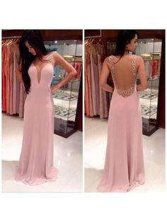 V-neck Chiffon Tulle Beading Sweep Train Trendy Backless Pink Prom Dresses #DGD02016058