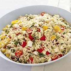 Orzo with Tomatoes, Feta, and Green Onions  Here you go.  I always use less oil.  And I added yellow and orange peppers, black olives and asparagus.  1 pound of pasta made a that huge amount so beware!