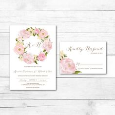 A B O U T ⋆ T H I S ⋆ L I S T I N G Name: Romantic Peonies Floral Wreath Wedding Suite Type: Customizable Invitation and response card