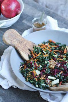 Autumn kale salad with maple bacon vinaigrette
