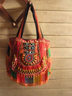 Hippie Fringe purse bag // tribal // ethnic // embroidery bag // red // gypsy…