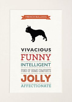 These modern and stylish prints display the common characteristics of a French Bulldog in a range of complimentary typefaces and make a great gift