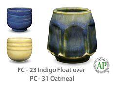 AMACO Potter's Choice layered glazes PC-31 Oatmeal and PC-23 Indigo Float.