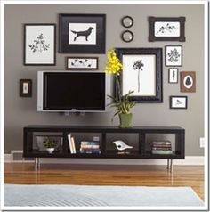 photo gallery wall to include/lessen the focus on the TV