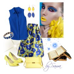 """Yellow & blue"" by samra-dzabija on Polyvore featuring Chicwish, Nina, TravelSmith, STELLA McCARTNEY, New Directions and 1st & Gorgeous by Carolee"