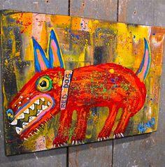 RED DOG~Maine FOLK ART Outsider~COASTWALKER