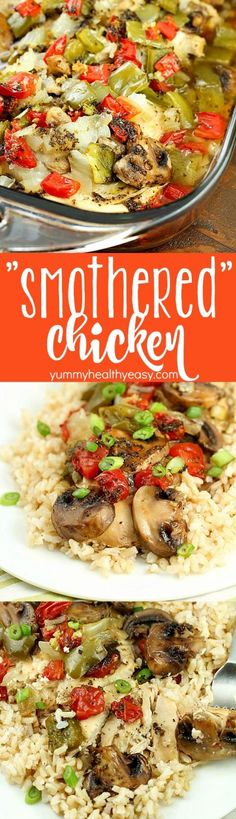 "Baked ""Smothered Chicken"" may sound weird, but this is an incredibly easy and delicious one-pan, baked chicken dinner recipe that my family loves! It's healthy and high in protein and is low-carb & gluten-free without the side of rice. Super easy and no pre-cooking of the meat, just throw it all in the pan and bake! It comes out juicy and flavorful!"