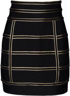 BALMAIN Black Mini Skirt - Lyst