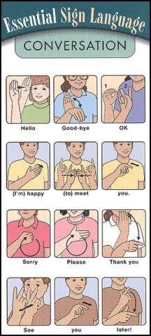 """Essential ASL Sign Language - for SASL (South African SL) please ignore the signs for """"good-bye"""", """"thank you"""" and """"later"""", the other signs are the same. Also the ASL sign for """"please"""" is the SASL sign for """"pleasure"""" Sign Language Words, Sign Language Alphabet, Learn Sign Language, American Sign Language, Body Language, Sign Language Basics, English Sign Language, Australian Sign Language, Spanish Language"""