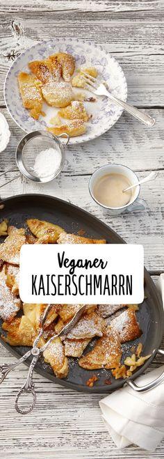 Vegan Kaiserschmarrn Alm Hütte Weihnachten Dessert Pfannkuchen Puderzucker Pause Zwischendurch süß lecker saftig fluffig luftig Pfanne goldbraun Warm