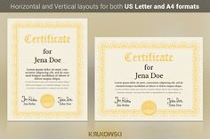 Certificate Template by Krukowski Graphics on @creativemarket