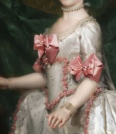 Traveling through history of Art.'Portrait of The Archduchess Maria Theresa of Austria', detail, by Anton Raphael Mengs, Classic Paintings, Old Paintings, Beautiful Paintings, Renaissance Paintings, Renaissance Art, Fashion History, Fashion Art, 18th Century Fashion, 17th Century
