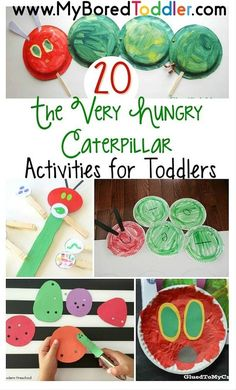 The Very Hungry Caterpillar activities for toddlers and preschoolers. Lots of Eric Carle, The Very Hungry Caterpillar craft and activity ideas. Art Therapy Activities, Preschool Crafts, Preschool Activities, Book Activities, Activity Ideas, Bug Crafts, Preschool Food, Daycare Crafts, Kids Crafts