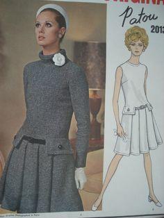 1960s VOGUE PARIS ORIGINAL PATTERN 2013 DROP WAIST PATOU DRESS PATTERN  FRONT PLEATS, HIGH BIAS STANDING COLLAR or JEWEL NECKLINE VERY KATE MIDDLETON