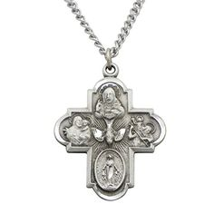 """Rosemarie Collections Religious Gift Traditional Catholic Four Way Medal Pendant Necklace 24"""""""