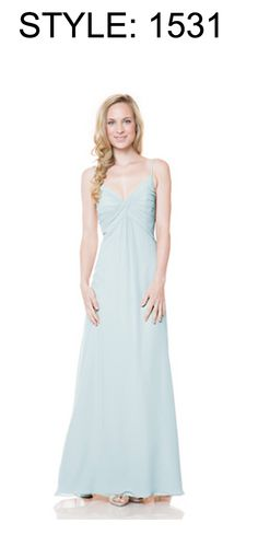 66383fadbb4 Shop Bari Jay This maternity bridesmaid dress features a pleated  criss-cross bodice with spaghetti straps and an A-line silhouette in soft  bella chiffon.