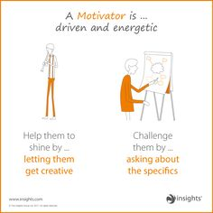 A motivator is driven and energetic so help them shine but don't forget to challenge them. Effective Leadership Skills, Leadership Development, Teaching Science, Teaching Tips, Insights Discovery, Group Dynamics, Personality Tests, Study Skills, Life Coaching