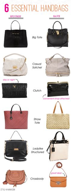 Six Essential Handbags| STYLE'N (These are from 2012 but are still great choices in 2013!)